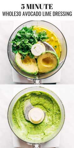 Creamy and refreshing avocado cilantro lime dressing. Great for dipping veggies and topping off any salad. Dairy free, paleo, whole30 friendly. Made in minutes in the blender or food processor. Easy whole30 meal prep. Paleo recipes for beginners. #avocado #paleo #whole30