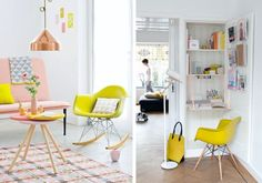 Small space desk solutions // Live Simply by Annie Desks For Small Spaces, Small Space Living, Colorful Chairs, Cool Chairs, Eames, Fold Out Desk, Small Space Solutions, Creative Home, Scandinavian Design