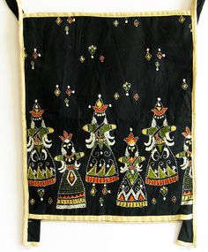 Kantha Embroidered Black Cotton Bag from India