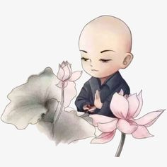 Chinese style hand drawn ink painting monks and lotus flowers PNG and Clipart Baby Buddha, Little Buddha, Buddha Doodle, Buddha Art, Buddha Flower, Small Buddha Statue, Zen Painting, Chinese Drawings, Tinta China