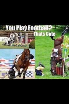 This one's been floating around for a while, but I had to finally pin it.  Equestrians don't get tackled off the ground by 300 lb men traveling at human speeds.  We get tackled from about 5 feet up by 1200 lb animals traveling upwards of 20 mph.