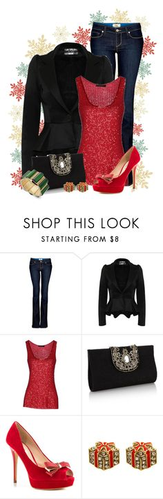 """""""What I Wore: Feeling Festive"""" by stylesdice ❤ liked on Polyvore featuring Paige Denim, Donna Karan, Monsoon, GUESS and Bar III"""