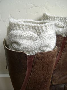 Cream cable knit legwarmers Cream boot toppers by MaryKCreation