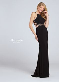Ellie Wilde EW117107 - Sleeveless jersey fit and flare gown with hand-beaded illusion midriff formal prom or party dress