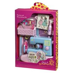 """Found on Amazon...adorable and very complete set....Our Generation Dressmaking Accessory Kit  Dimensions: 4.0 """" H x 1.95 """" W x 5.75 """" L"""
