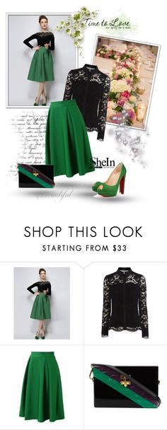 """""""Green Plaid Skirt"""" by narci-283 ❤ liked on Polyvore featuring Chicwish, Edie Parker, Christian Louboutin, Sheinside and shein"""