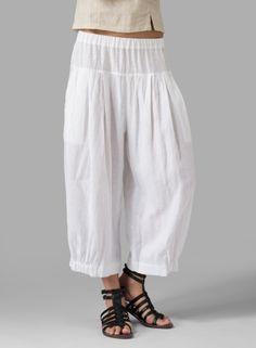 Linen Crumple Effect Harem Pants White