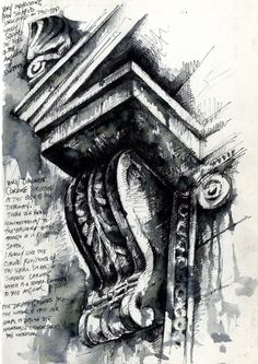 Ian Murphy - Architectural Studies in Sketchbook I like the use of ink and drawing to create this piece and the annotations next to it Architecture Antique, Architecture Sketchbook, Art Sketchbook, Art And Architecture, Architecture Details, Classical Architecture, Architectural Features, Architectural Sketches, Architectural Photography