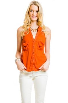 $16 at www.heavenlycouture.com  Sleeveless Lace Back Top in Rust