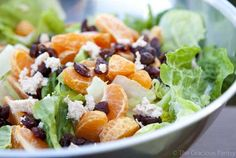 Delicious Dressing Recipe on a simple salad. Clean Eating Mandarin Orange Chicken Salad With Dried Cranberries