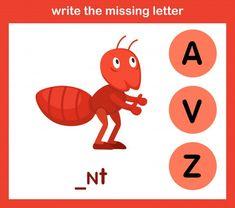 Write The Missing Letter Missing Letter Worksheets, Alphabet Tracing Worksheets, Alphabet Templates, Alphabet Writing, Alphabet Crafts, Alphabet Design, Spelling Worksheets, Animal Letters, Animal Alphabet