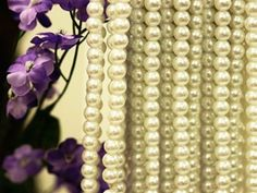 8mm Pearls (Mother of Pearl) - Ivory 8+ Yards Strand | Tablecloths Factory Sale Price $8.79