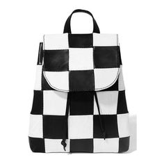 American Vintage Checkered Leather Backpack ($180) ❤ liked on Polyvore featuring bags, backpacks, drawstring backpacks, leather drawstring bag, genuine leather backpack, leather knapsack and real leather backpack