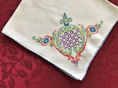 9 Linen Napkins With Embroidery One Corner by VintageLinenGallery