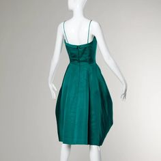 Suzy Perette Vintage 1950s Green Silk Cocktail Dress with an Origami Bubble Hem