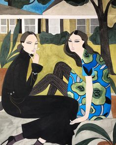 Sisters smoking on the porch wearing Loewe and Burberry by Kelly Beeman