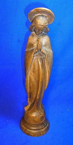 Vintage Italy ANRI Christianity Wood Carved Virgin Mary Figurine #BL