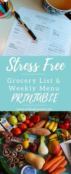 Stress Free Grocery Shopping List & Weekly Printable- Tickled Scarlett Blog