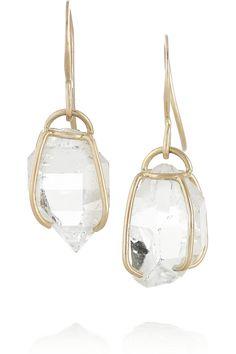 Melissa Joy Manning | 14-karat gold Herkimer diamond earrings
