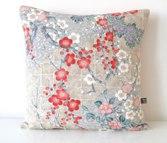 NEW COLLECTION Valentine Cherry Blossom Hand Painted Floral Kimono Silk Cushion  £30.00