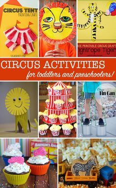 The circus is coming to town this week with some wonderful ideas to help you create a Circus themed Tot School for your child. I've rounded up some of the best fine and gross motor skills activities and crafts I could find. And as usual I've thrown in som Toddler Play, Toddler Preschool, Toddler Crafts, Toddler Activities, Preschool Activities, Crafts For Kids, Preschool Learning, Summer Crafts, Circus Activities