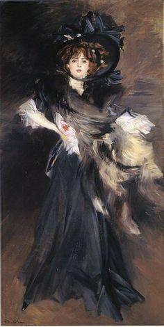 Portrait of Mademoiselle Lantelme by Giovanni Boldini, 1907. (via Musei Italiani on Facebook)
