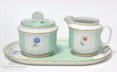 Sugar cup and cream jug, Porsgrund Porselen, Design Nora Gulbrandsen, Production year Modell: 2217 Stoneware, Scandinavian, Blues, Museum, Pottery, Sugar, Ceramics, Cream, Design