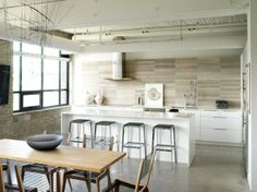 Kitchen Design, Outstanding Grey Marble Horizontal Kitchen Tile Backsplashes Ideas With Minimalist Wooden Dining Table For Six Persons Also ...