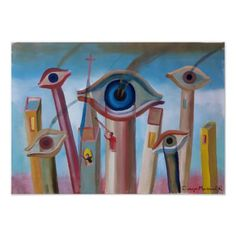 Eyes and chimneys poster - decor diy cyo customize home