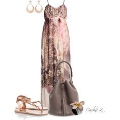 A fashion look from May 2014 featuring blossom jewelry, pendant earrings and brown maxi dress. Browse and shop related looks. Pink Fashion, Modern Fashion, Fashion Beauty, Fashion Looks, Fashion Outfits, Womens Fashion, Brown Maxi Dresses, Floral Maxi Dress, Cute Dresses