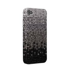 Black and Silver Glitter Bling Cover Iphone 4 Case by ConstanceJudes