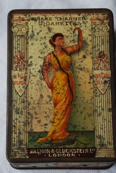Antique Snake Charmer Advertising Tobacco Cigarette Tin Box Early 1900's