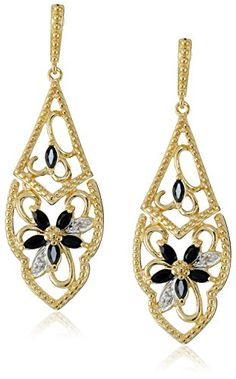 Yellow GoldPlated Sterling Silver Sapphire Flower Dangle Earrings >>> Click image to review more details.