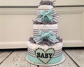 Mint Jubilee Chevron Diaper Cake, Baby Shower Gift