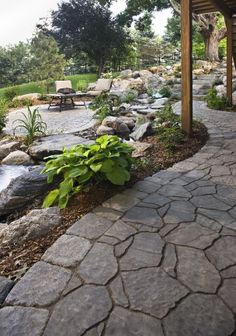 Front Yard Landscaping Discover Top 70 Best Rock Landscaping Ideas - Boulder Designs From modern to traditional discover stunning exteriors with the top 70 best rock landscaping ideas. Explore unique boulder designs for your outdoor spaces. Landscaping With Rocks, Front Yard Landscaping, Backyard Patio, Flagstone Patio, Patio Stone, Stone Edging, Rustic Landscaping, Natural Landscaping, Stone Landscaping