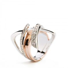 The Classic LunaRing. Strong and Sexy.    Plating material: WhiteGold andPink Gold  Inner material: Sterling Silver 925  All other material:White CZ  Measurements:L2.2cm* W 2.2cm*H2.4cm  Sizes:5|6 |6.5 |7.5