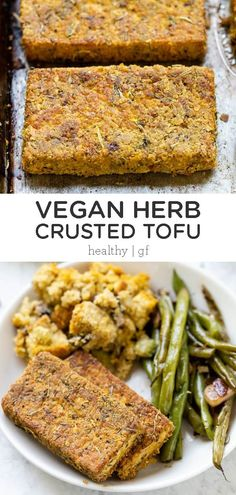 This Vegan Herb Crusted Tofu makes a delicious vegetarian entree or side dish for a crowd at Thanksgiving! This easy homemade recipe is made with quinoa flour, nutritional yeast, garlic and healthy seasonings and spices! Entree Vegan, Vegetarian Entrees, Vegan Dinners, Vegetarian Dishes Healthy, Vegetarian Cooking, Easy Homemade Recipes, Healthy Recipes, Baked Veggie Recipes, Recipes With Tofu