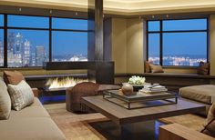 A fireplace for my swanky New York apartment looking out onto the skyline...just a small vacation loft...lol