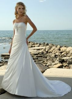 A-Line Strapless Chapel TRAIN Elastic Woven Satin Wedding Dress with Embroidery