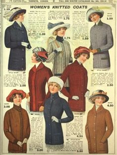 Vintage Coats Edwardian 1913 Knit Sweater Coats in Solid Colors and HIgh Round Necks - A look at vintage sweaters in pictures with a history of knitwear styles starting in the practical and moving into the sporty and classy Vintage Crochet Patterns, Vintage Knitting, Vintage Sewing, Knitting Patterns, Knitting Tutorials, Loom Knitting, Free Knitting, Vintage Clothing, Stitch Patterns