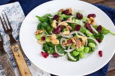 Wilted Spinach Salad with Shallots Edamame Dried Cranberries & Chopped Walnuts by Parsley In My Teeth #vegan