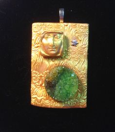 Green Goddess Druzy Pendant Necklace by ArtsofAvalonJewelry, $40.00