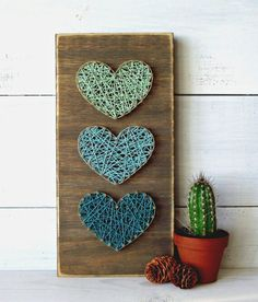 Multiple Multi-Colored Hearts String Art
