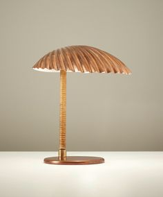 PAAVO TYNELL Simpukka (Clam) table lamp, 1941 copper + cane-wrapped tubular metal