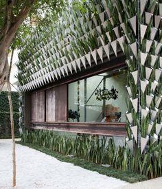 unusual facade + vases + vertical garden