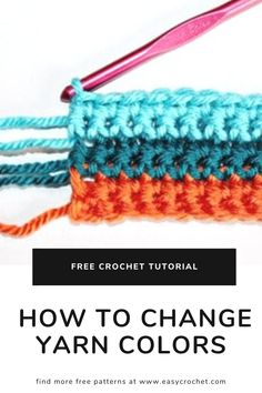 Learn the best way to go about changing colors in crochet in patterns. Easiest way to learn about changing yarn colors when crocheting. Triple Crochet Stitch, Crochet Chain, Knit Or Crochet, Learn To Crochet, Easy Crochet, Free Crochet, Crochet Baby Hat Patterns, Crochet Baby Hats, Crocheting Patterns