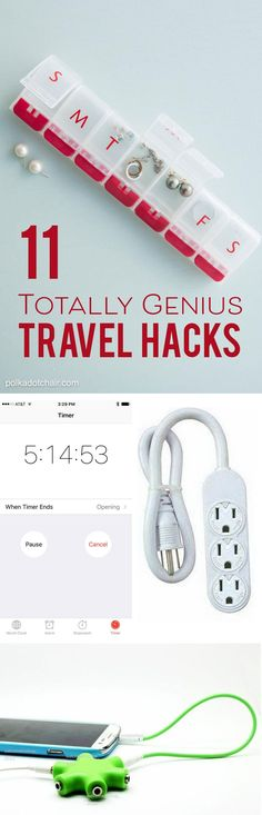 11 Totall Genius Travel Hacks... I love the one about setting the timer on your phone for your flight time! [ad]