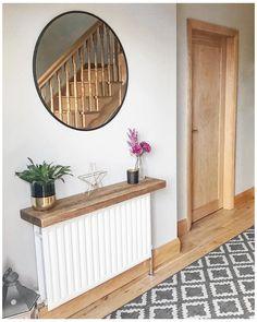 Hallway Shelf, White Hallway, Home Living Room, Living Room Decor, Small Hallway Decorating, Entrance Hall Decor, Hallway Colours, Flur Design, Narrow Console Table