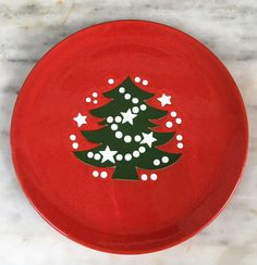 vintage Waechtersbach Christmas tree salad plate, red plate, green christmas tree, collectible, 1970s by MotherMuse on Etsy