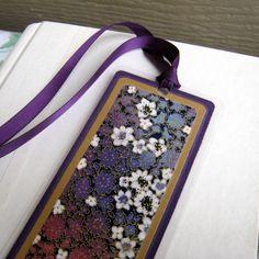Japanese Washi Floral Bookmark, Purple and Gold Laminated. $6.75, via Etsy.